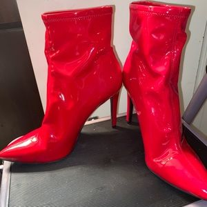 Red Jessica Simpson patent leather ankle boots